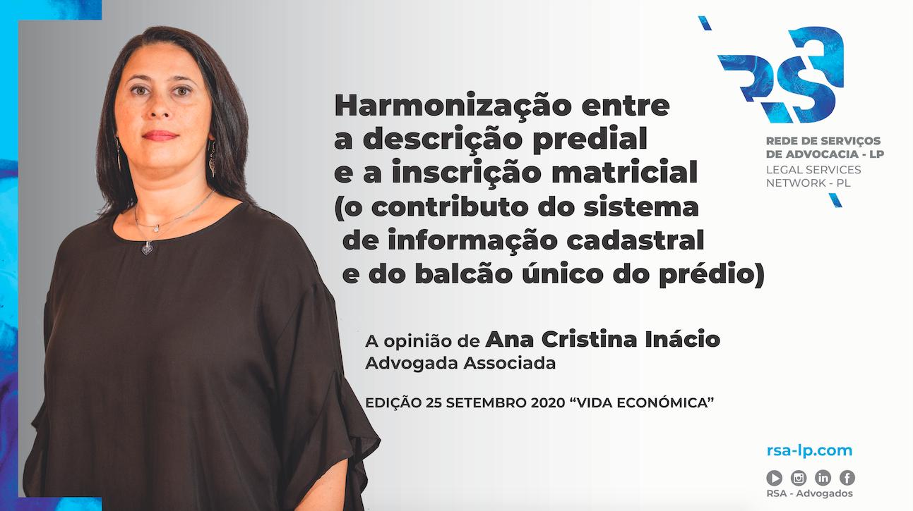 Artigo de Ana Cristina Inácio para a Vida Económica sobre descrição predial e inscrição matricial