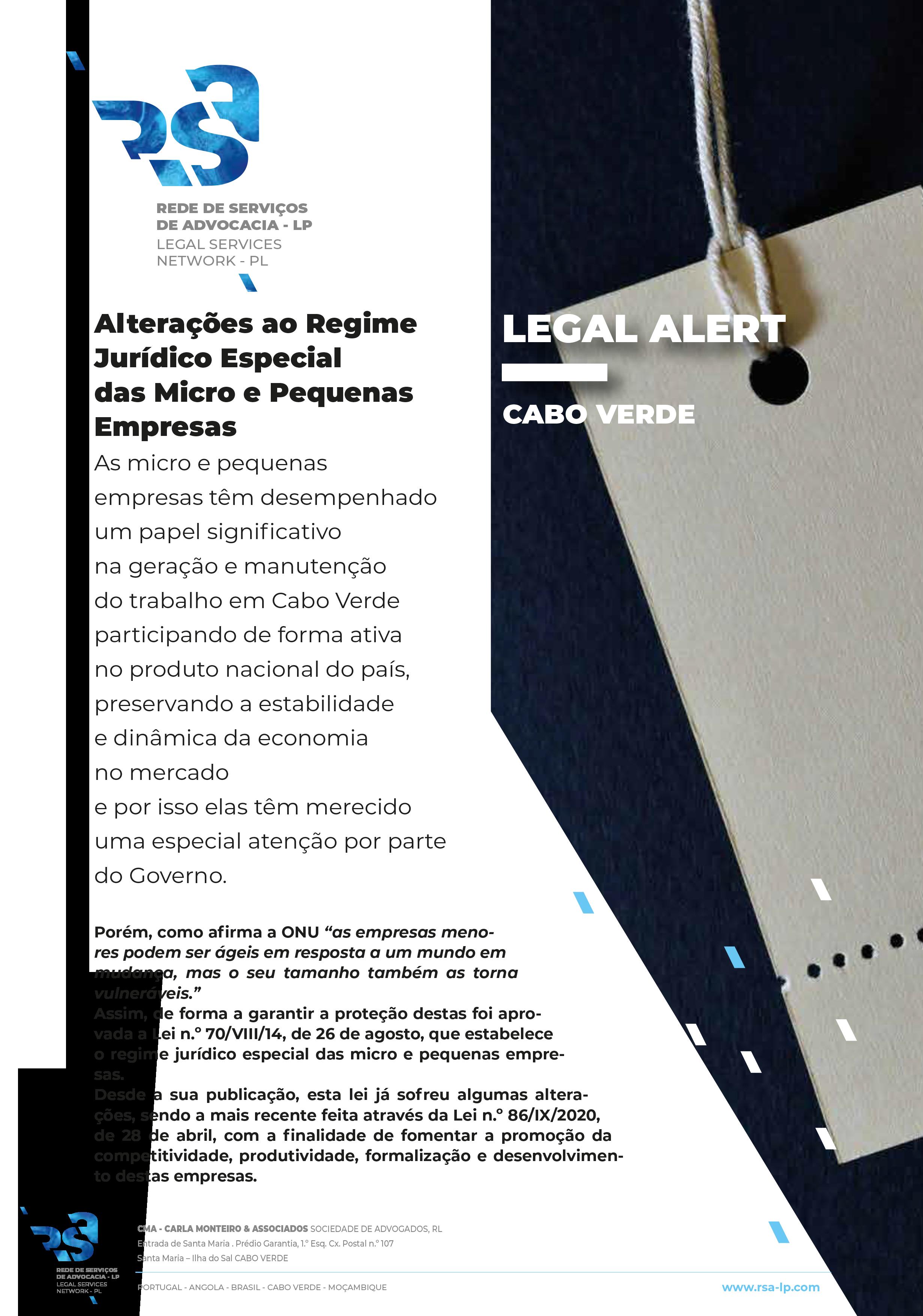 Alterações ao Regime Jurídico Especial das Micro e Pequenas Empresas