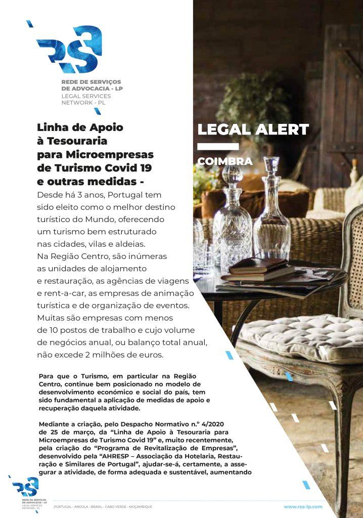 Linha de Apoio à Tesouraria para Microempresas de Turismo Covid 19 e outras medidas