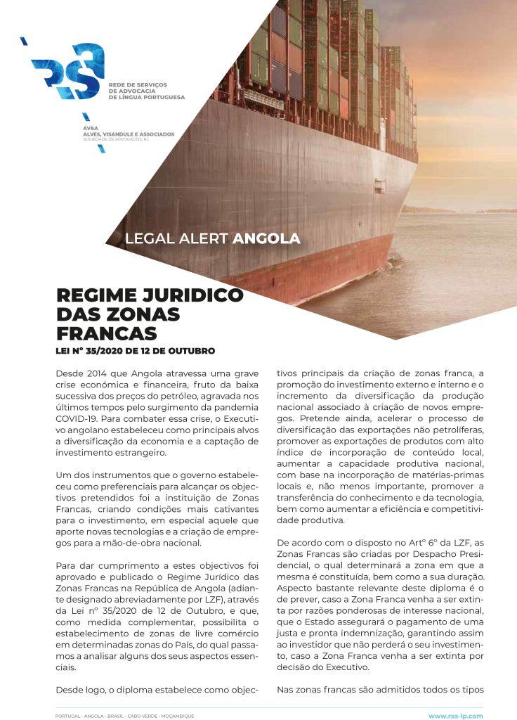 Regime juridico das Zonas Francas em Angola
