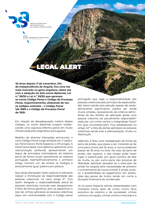 Legal Alert Angola