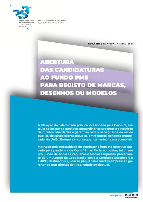 Candidaturas ao fundo PME para registo de marcas, desenhos ou modelos