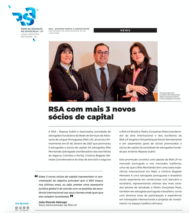 RSA Com mais 3 novos sócios de capital