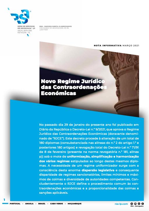 Novo Regime Jurídico das Contraordenações Económicas