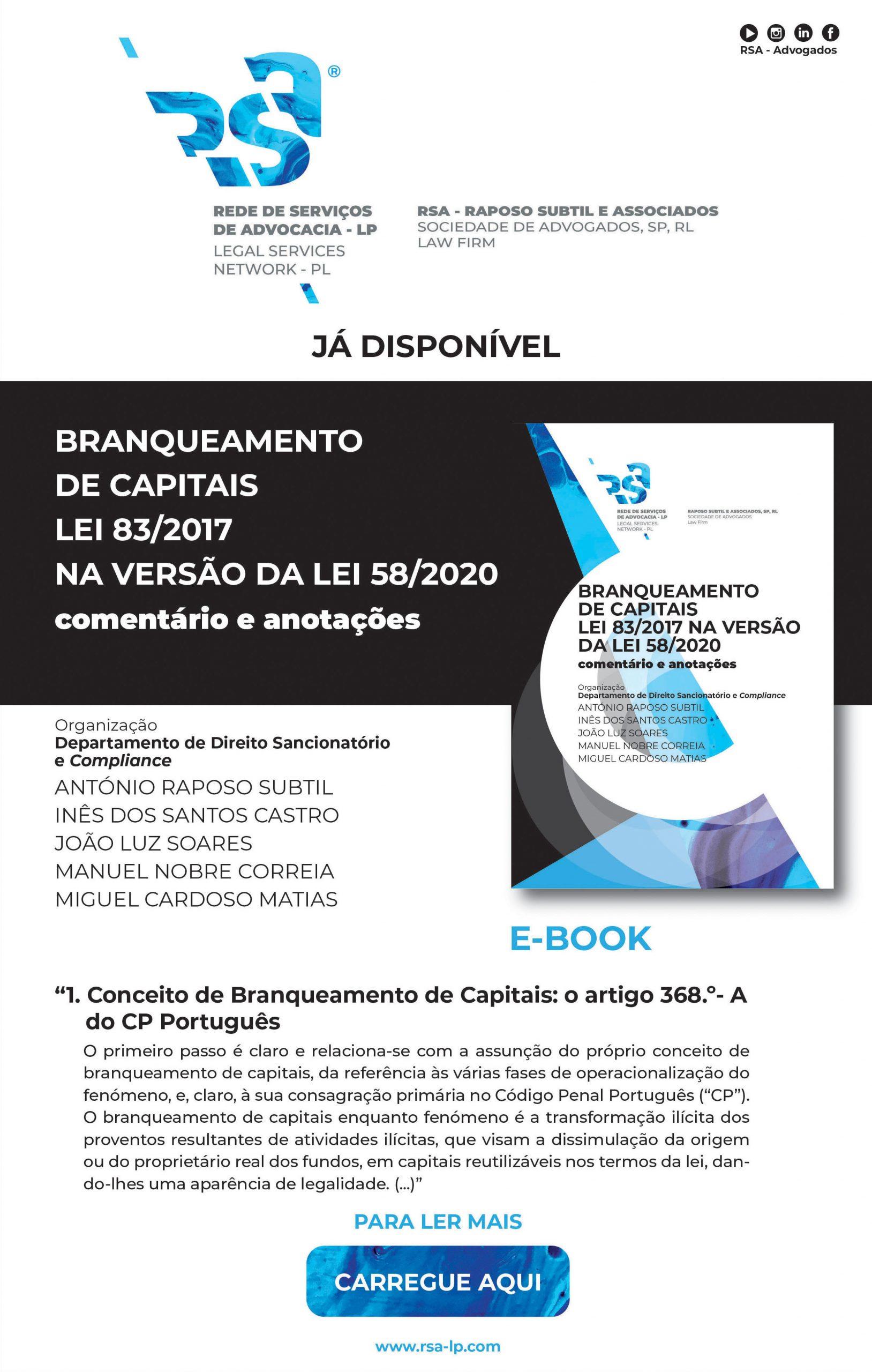 Novo Ebook - Branqueamento Capitais - Lei 83/2017 na versão da Lei 58/2020