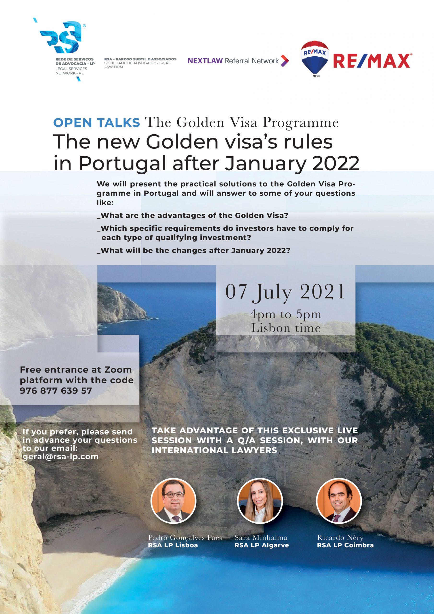 Open Talks - The Golden Visa Programme/ Programa Vistos Gold