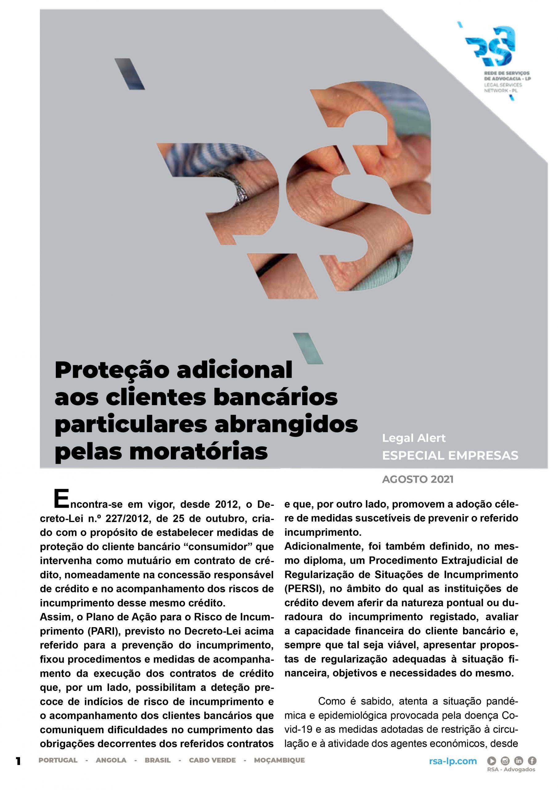 Legal Alert - Especial Empresas: Proteção adicional aos clientes bancários particulares abrangidos pelas moratórias